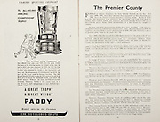 All Ireland Senior Hurling Championship Final,.Programme,.02.09.1951, 09.02.1951, 2nd September 1951,.Wexford 3-9, Tipperary 7-7,.Minor Cork v Galway, .Senior Wexford v Tipperary, .Croke Park, ..Advertisements, Paddy Whisky Cork Distilleries Co Ltd, ..Articles, The Premier County,