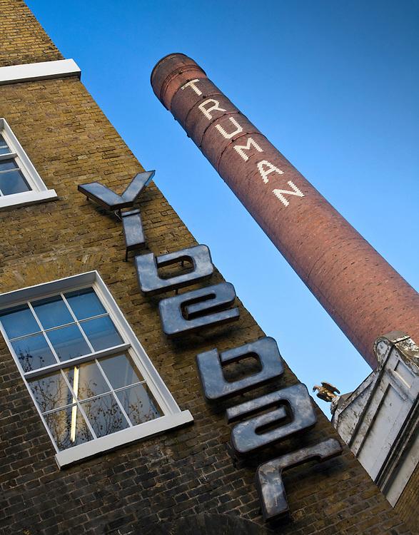 Vibe bar and truman brewery chimney in Brick lane, london