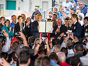 11 JUNE 2019 - COUNCIL BLUFFS, IOWA: US President DONALD J. TRUMP holds up the executive order he signed calling for research in biofuels at the end of his program at Southwest Iowa Renewable Energy. President Trump visited Southwest Iowa Renewable Energy in Council Bluffs Tuesday to announce that his administration was relaxing rules on E15, an ethanol additive for gasoline. Iowa is one of the leading ethanol producers in the U.S. and Iowa corn farmers hope the administration's change in E15 rules will spur demand for corn.          PHOTO BY JACK KURTZ
