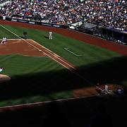 Pitcher Jacob deGrom, New York Mets, pitching to Tanner Roark, Washington Nationals, during the New York Mets Vs Washington Nationals MLB regular season baseball game at Citi Field, Queens, New York. USA. 4th October 2015. Photo Tim Clayton
