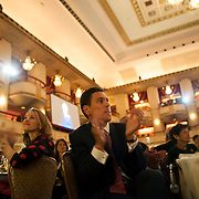 November 6, 2013 - New York, NY : Former British Labour Party politician David Miliband, who recently took over as President and CEO of the New York-based International Rescue Committee (IRC), center, at his table at the IRC's Annual fundraiser at the Waldorf Astoria Hotel in Midtown Manhattan on Wednesday night. CREDIT: Karsten Moran for The New York Times