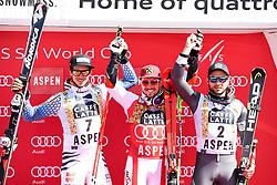 18.03.2017, Aspen, USA, FIS Weltcup Ski Alpin, Finale 2017, Riesenslalom, Herren, Siegerehrung, im Bild Felix Neureuther (GER, 2. Platz), Marcel Hirscher (AUT, 1. Platz und Riesenslalom-Weltcupsieger), Mathieu Faivre (FRA, 3. Platz und 2. Platz Riesenslalom-Weltcup) // second placed Felix Neureuther of Germany. race winner and Giantslalom World Cup winner Marcel Hirscher of Austria. third placed and Giantslalom World Cup second placed Mathieu Faivre of France during the winner award ceremony for the men's Giantslalom of 2017 FIS ski alpine world cup finals. Aspen, United Staates on 2017/03/18. EXPA Pictures © 2017, PhotoCredit: EXPA/ Erich Spiess