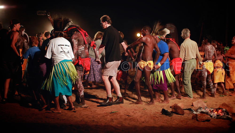 After the corroboree the public has a change to dance together with the performers.  Over 100 Aboriginal dancers come together in July outside a small community in Derby, 220 km North of Broome in The Kimberley. It is the largest open corroboree in WA where dancers wear their traditional dress and cover their bodies with ochre, while stamping their feet they tell their story to more than 1500 onlookers. Derby, WA