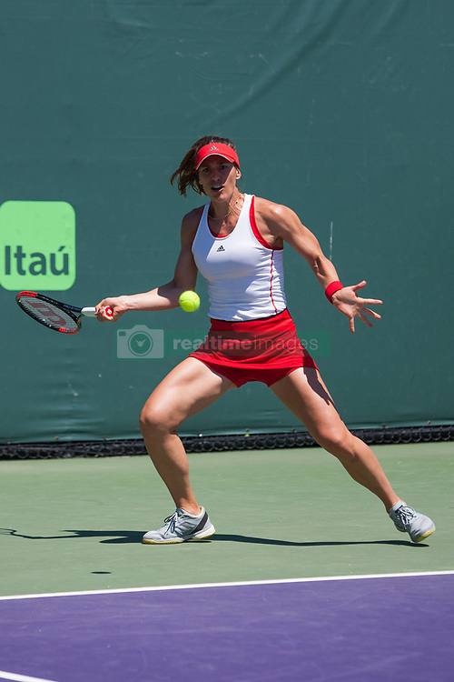 March 23, 2018 - Key Biscayne, FL, U.S. - KEY BISCAYNE, FL - MARCH 23: Andrea Petkovic (GER) in action on Day 5 of the Miami Open Presented at Crandon Park Tennis Center on March 23, 2018, in Key Biscayne, FL. (Photo by Aaron Gilbert/Icon Sportswire) (Credit Image: © Aaron Gilbert/Icon SMI via ZUMA Press)