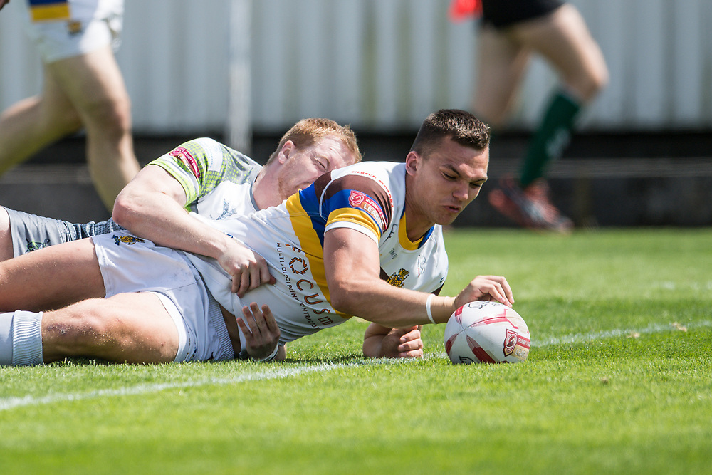 Whitehavens' Ellis Gillam scores a try<br /> <br /> Photographer Craig Thomas/Replay Images<br /> <br /> Betfred League 1 - West Wales Raiders v Whitehaven  - Saturday 23rd June 2018 - Stebonheath Park - Llanelli<br /> <br /> World Copyright © 2017 Replay Images. All rights reserved. info@replayimages.co.uk - www.replayimages.co.uk