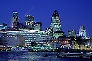 City view with Swiss RE Headquarters Buidling, Thames River, London, Great Britain, UK