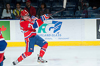KELOWNA, CANADA -JANUARY 29: Mitch Holmberg RW #17 of the Spokane Chiefs takes a shot against the Kelowna Rockets on January 29, 2014 at Prospera Place in Kelowna, British Columbia, Canada.   (Photo by Marissa Baecker/Getty Images)  *** Local Caption *** Mitch Holmberg;
