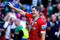 Alex Goode of Saracens celebrates after winning in the Premiership Rugby Final against Exeter Chiefs - Mandatory by-line: Robbie Stephenson/JMP - 01/06/2019 - RUGBY - Twickenham Stadium - London, England - Exeter Chiefs v Saracens - Gallagher Premiership Rugby Final