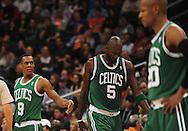 Jan. 28, 2011; Phoenix, AZ, USA; Boston Celtics gurad Rajon Rondo (9) , forward Kevin Garnett (5) , and guard Ray Allen (20) react on the court against the Phoenix Suns at the US Airways Center.  The Suns defeated the Celtics 88-71. Mandatory Credit: Jennifer Stewart-US PRESSWIRE