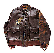 Original A-2 jacket that belonged to Mr. Bob Mitchell, Jr. of Trussville, Alabama.  A ball-turret gunner, he designed the logo on the front of his jacket.  He flew 38 combat missions wearing this jacket.