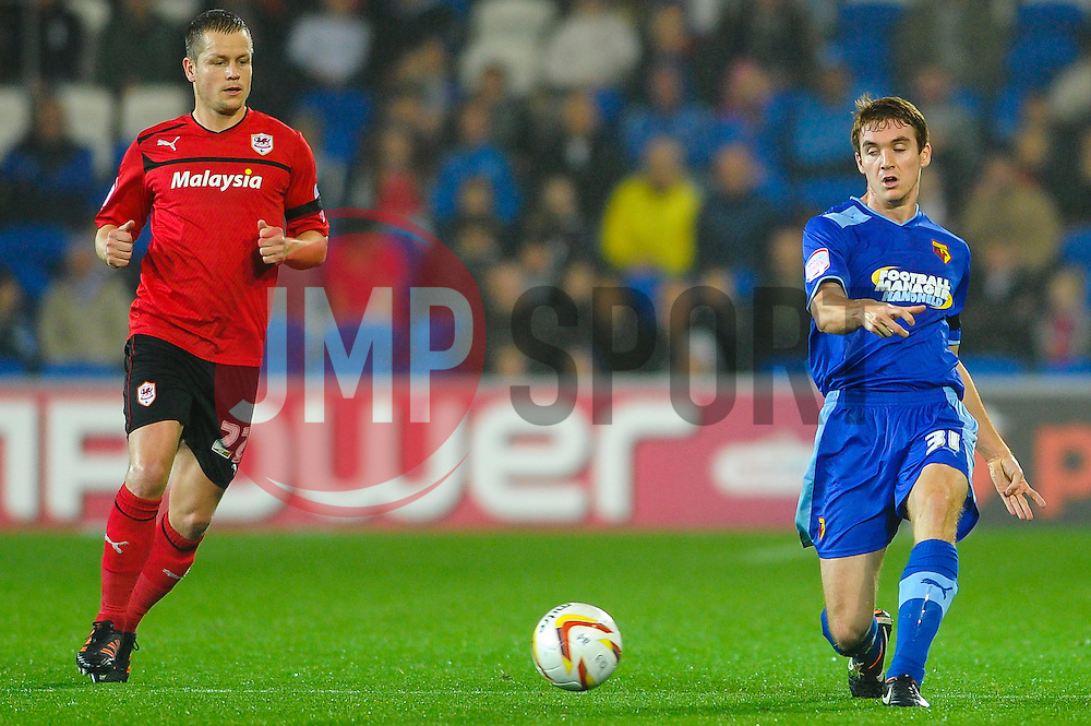 Watford Defender Tommie Hoban (IRL) in action during the first half of the match - Photo mandatory by-line: Rogan Thomson/JMP - Tel: Mobile: 07966 386802 23/10/2012 - SPORT - FOOTBALL - Cardiff City Stadium - Cardiff. Cardiff City v Watford - Football League Championship