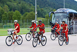 ROTTACH-EGERN, GERMANY - Friday, July 28, 2017: Liverpool's Adam Lallana, Sadio Mane and Mohamed Salah cycle back to the team hotel after a training session at FC Rottach-Egern on day three of the preseason training camp in Germany. (Pic by David Rawcliffe/Propaganda)