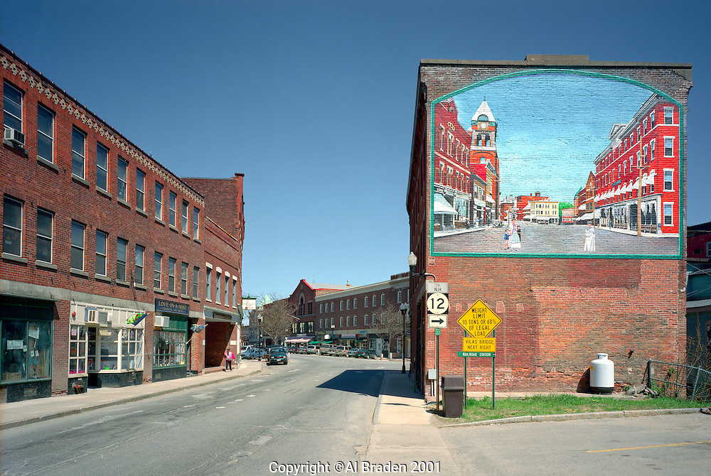 Trompe l'oeil mural of historic Bellows Falls on the street at Bellows Falls, VT