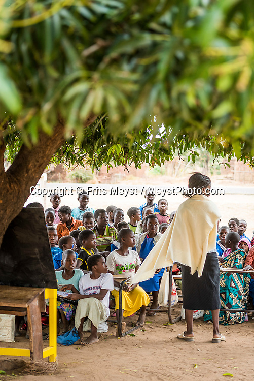 Malawi, July 2017. Children in an open air primary school under a tree. The land between Lake Malawi and Liwonde National park is strewn with Baobab trees and small farming villages. Malawi is known for its long rift valley and the third largest lake in Africa: Lake Malawi. Malawi is populated with friendly welcoming people, who gave it the name: the warm heart of Africa. In the south the lake make way for a landscape of valleys surrounded by spectacular mountain ranges. Photo by Frits Meyst / MeystPhoto.com