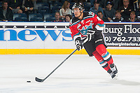 KELOWNA, CANADA - OCTOBER 7: Madison Bowey #4 of Kelowna Rockets skates with the puck against the Swift Current Broncos on October 7, 2014 at Prospera Place in Kelowna, British Columbia, Canada.  (Photo by Marissa Baecker/Getty Images)  *** Local Caption *** Madison Bowey;