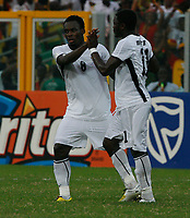 Photo: Steve Bond/Richard Lane Photography.<br />Ghana v Nigeria. Africa Cup of Nations. 03/02/2008. Michael Essien (L) is congratulated by Sulley Muntari (R)