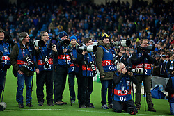 MANCHESTER, ENGLAND - Tuesday, March 15, 2016: Photographers before the UEFA Champions League Round of 16 2nd Leg match between Manchester City and FC Dynamo Kyiv at the City of Manchester Stadium. (Pic by David Rawcliffe/Propaganda)