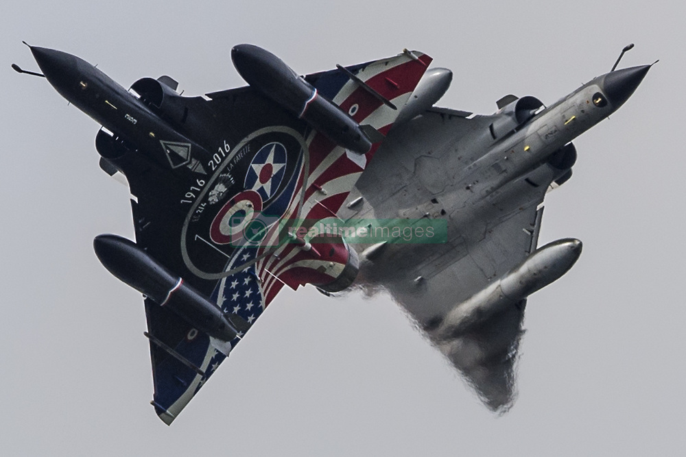 July 4, 2018 - Fairford, UK - Two Mirage 2000 N Aircraft at the Royal International Air Tattoo 2018 in Fairford, UK. Aircraft are the stars of the Air Tattoo 2018,  a full three days of airshows with over 7 hours of flying on Friday, Saturday and Sunday in 2018. The Royal International Air Tattoo will begin on Friday, July 13.  (Credit Image: © SIPA Asia via ZUMA Wire)