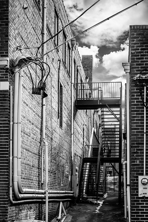 North Main St. alleyway scene looking towards North Liberty St. in downtown Winston-Salem