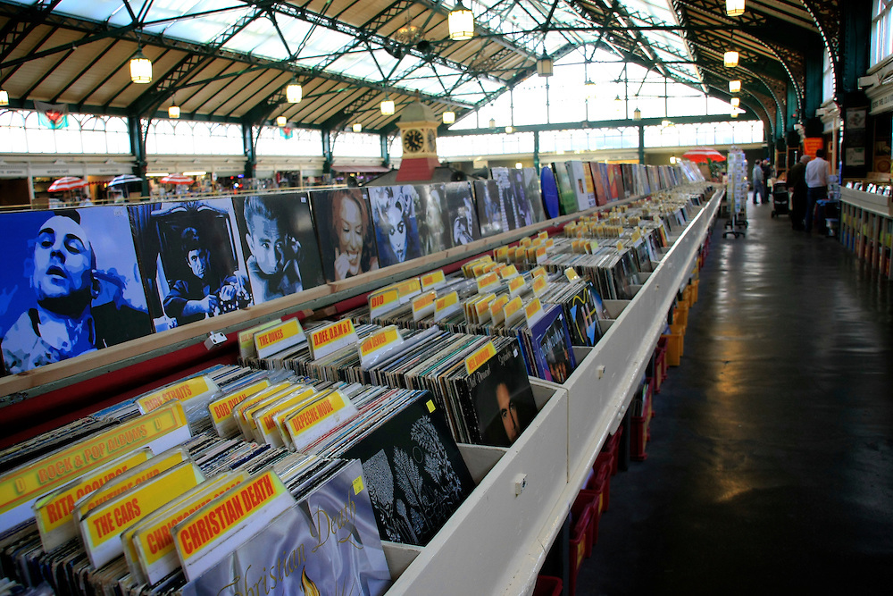 Cardiff, UK. City market first floor and its vinyl shop.