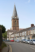 Christ Church and crescent of terraced housing, Ebbw Vale, Blaenau Gwent, South Wales, UK