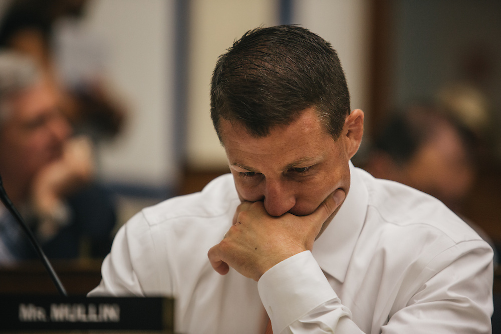 Congressman Markwayne Mullin listens to amendments to a bill during the Transportation and Infastructure committee's meeting on Sept. 19, 2013. During the meeting, the committee passed the Water Resources Reform and Development Act of 2013, a bipartisan bill.