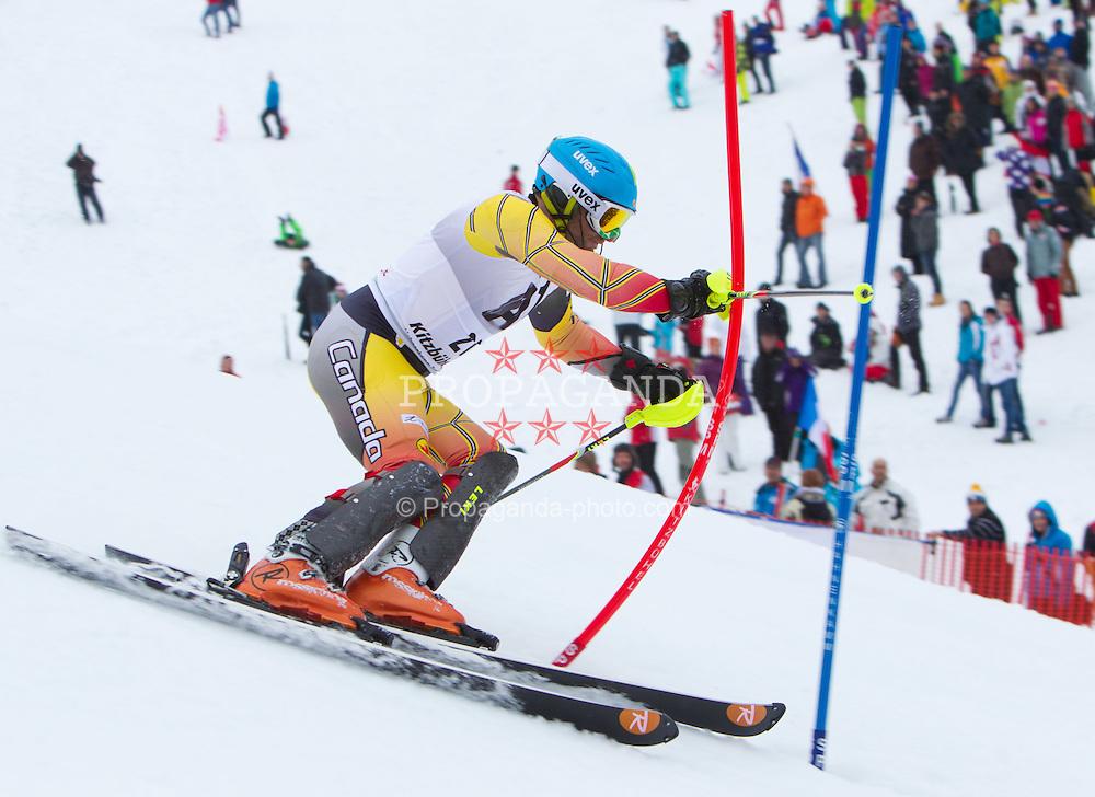 22.01.2012, Ganslernhang, Kitzbuehel, AUT, FIS Weltcup Ski Alpin, 72. Hahnenkammrennen, Herren, Slalom 1. Durchgang, im Bild Michael Janyk (CAN) // Michael Janyk of Canada during Slalom race 1st run of 72th Hahnenkammrace of FIS Ski Alpine World Cup at 'Ganslernhang' course in Kitzbuhel, Austria on 2012/01/22. EXPA Pictures © 2012, PhotoCredit: EXPA/ Johann Groder