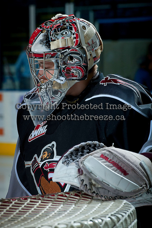 KELOWNA, CANADA - JANUARY 4: Payton Lee G #1 of the Vancouver Giants warms up against the Kelowna Rockets on January 4, 2014 at Prospera Place in Kelowna, British Columbia, Canada.   (Photo by Marissa Baecker/Shoot the Breeze)  ***  Local Caption  ***