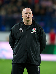 OSIJEK, CROATIA - Tuesday, October 16, 2012: Wales' assistant coach John Hartson before the Brazil 2014 FIFA World Cup Qualifying Group A match against Croatia at the Stadion Gradski Vrt. (Pic by David Rawcliffe/Propaganda)