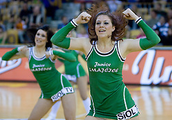 Junior Dragon Ladies dance at third finals basketball match of Slovenian Men UPC League between KK Union Olimpija and KK Helios Domzale, on June 2, 2009, in Arena Tivoli, Ljubljana, Slovenia. Union Olimpija won 69:58 and became Slovenian National Champion for the season 2008/2009. (Photo by Vid Ponikvar / Sportida)