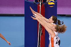 04-01-2016 TUR: European Olympic Qualification Tournament Nederland - Duitsland, Ankara <br /> De Nederlandse volleybalvrouwen hebben de eerste wedstrijd van het olympisch kwalificatietoernooi in Ankara niet kunnen winnen. Duitsland was met 3-2 te sterk (28-26, 22-25, 22-25, 25-20, 11-15) / Nicole Koolhaas #22, Lonneke Sloetjes #10