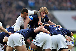 Courtney Lawes of England and Jonny Gray of Scotland compete at a maul - Photo mandatory by-line: Patrick Khachfe/JMP - Mobile: 07966 386802 14/03/2015 - SPORT - RUGBY UNION - London - Twickenham Stadium - England v Scotland - Six Nations Championship