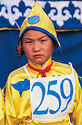 Female Jockey<br /> Naadam festival horse race<br /> Jockey's aged 4-12 years and most often girls<br /> Ulaanbaatar race track<br /> Mongolia