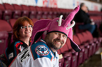 KELOWNA, CANADA -FEBRUARY 25: A fan supports crazy toque Tuesday as the Kelowna Rockets host the Prince George Cougars on February 25, 2014 at Prospera Place in Kelowna, British Columbia, Canada.   (Photo by Marissa Baecker/Getty Images)  *** Local Caption ***