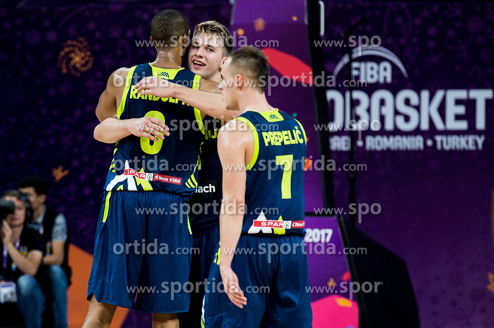 Anthony Randolph of Slovenia and Luka Doncic of Slovenia celebrate during basketball match between National Teams of Slovenia and Spain at Day 15 in Semifinal of the FIBA EuroBasket 2017 at Sinan Erdem Dome in Istanbul, Turkey on September 14, 2017. Photo by Vid Ponikvar / Sportida