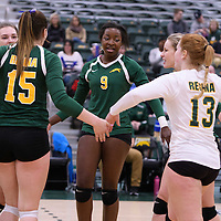 2nd year outside hitter Diana Lumbala (9) of the Regina Cougars in action during Women's Volleyball home game on January 21 at Centre for Kinesiology, Health and Sport. Credit: Arthur Ward/Arthur Images