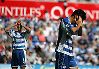 Photo: Lee Earle.<br /> Reading v Watford. The Barclays Premiership. 05/05/2007.Reading's Seol Ki-Hyeon (R) looks dejected after going close on goal.