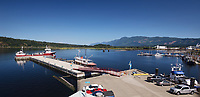 Port Alberni panoramic view of Alberni Inlet with docked ships, Alberni Valley, Vancouver Island, British Columbia, Canada 2018