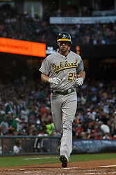SAN FRANCISCO, CA - AUGUST 13: Stephen Piscotty #25 of the Oakland Athletics rounds the bases after hitting a home run against the San Francisco Giants during the fifth inning at Oracle Park on August 13, 2019 in San Francisco, California. The San Francisco Giants defeated the Oakland Athletics 3-2. (Photo by Jason O. Watson/Getty Images) *** Local Caption *** Stephen Piscotty