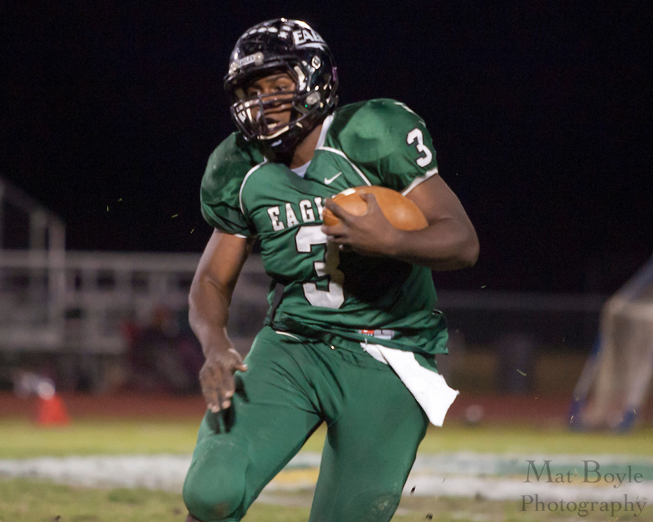 West Deptford High School's Gerald Towns (3) runs the ball during a Group 2 first round playoff game at West Deptford High School on Friday November 11, 2011. (photo / Mat Boyle)