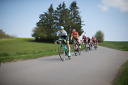Rachel Neylan (AUS) of Orica-AIS Cycling Team tackles a speedy downhill section in the first short lap during the second, 110.1km road race stage of Elsy Jacobs - a stage race in Luxembourg in Garnich on May 1, 2016.