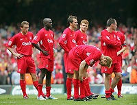 LIVERPOOL PLAYERS WAITING TO TAKE THERE PENALTYS. West Ham v Liverpool. F A Cup Final at Millenium Stadium. Cardiff . Wales. 13/05/2006.Credit  COLORSPORT / Kieran Galvin