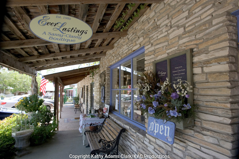 Store fronts along Main Street, or Highway 12, in Wimberley, Texas.