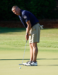 Uconn head football coach Randy Edsall putts during the Chick-fil-A Peach Bowl Challenge at the Ritz Carlton Reynolds, Lake Oconee, on Tuesday, April 30, 2019, in Greensboro, GA. (Paul Abell via Abell Images for Chick-fil-A Peach Bowl Challenge)