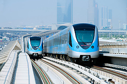 View of Metro railway in Dubai United Arab Emirates
