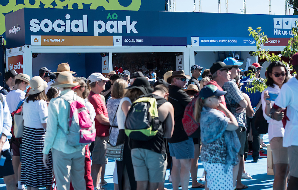 Crowds enter Melbourne Park on day one of the 2017 Australian Open at Melbourne Park on January 16, 2017 in Melbourne, Australia.<br /> (Ben Solomon/Tennis Australia)