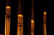 Morelia, Augustine church, beautiful pipes of the organ, wich represents Moros faces.