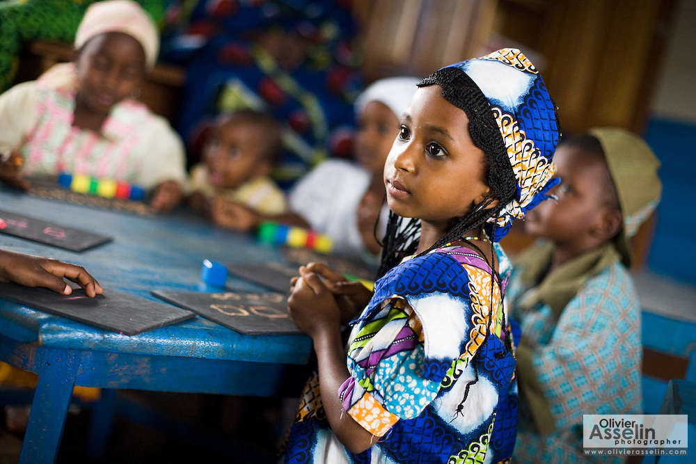 Children sit at the UNICEF-sponsored Bazzama kindergarden in the town of Bazzama, Cameroon on Wednesday September 16, 2009.  The school integrates the children of refugees from Central African Republic with residents from the area..