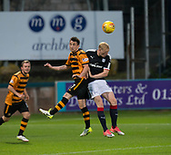 Dundee&rsquo;s Ian Smith and Alloa Athletic's Kevin Cawley compete in the air - Dundee under 20s v Alloa Athletic in the Irn Bru Cup Round 1 at Dens Park, Dundee - photograph by David Young<br /> <br />  - &copy; David Young - www.davidyoungphoto.co.uk - email: davidyoungphoto@gmail.com
