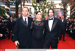 ©Arnal-Hahn-Nebinger/ABACA. 45645-18. Cannes-France, 15/05/2003. Cast members Hugo Weaving, Carrie-Anne Moss and Keanu Reeves arrive at the screening of the film Matrix Reloaded in the Palais des Festivals as part of the 56th Cannes Film Festival.  Cannes Film Festival Festival de Cannes Festival du Film de Cannes Cannes Film Festival Matrix Reloaded Matrix 2 The Matrix Reloaded Moss Carrie-Anne Moss Carrie-Anne Reeves Keanu Reeves Keanu Weaving Hugo Weaving Hugo Montee des marches Tapis rouge Red carpet Presentation de film Presentation de serie Movie Screening<br /> Photocall<br /> Photo call Soiree Party Cannes France Frankreich Provence-Alpes-Côte d'Azur Provence-Alpes-Cote d'Azur Horizontal Landscape Plan americain Half length  | 45645_18